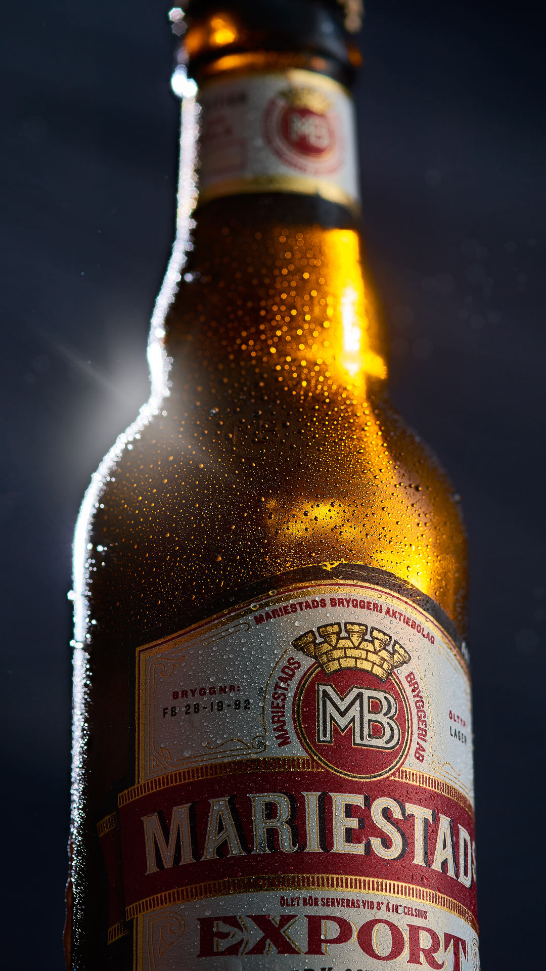 Mariestad Export beer bottle – product photography