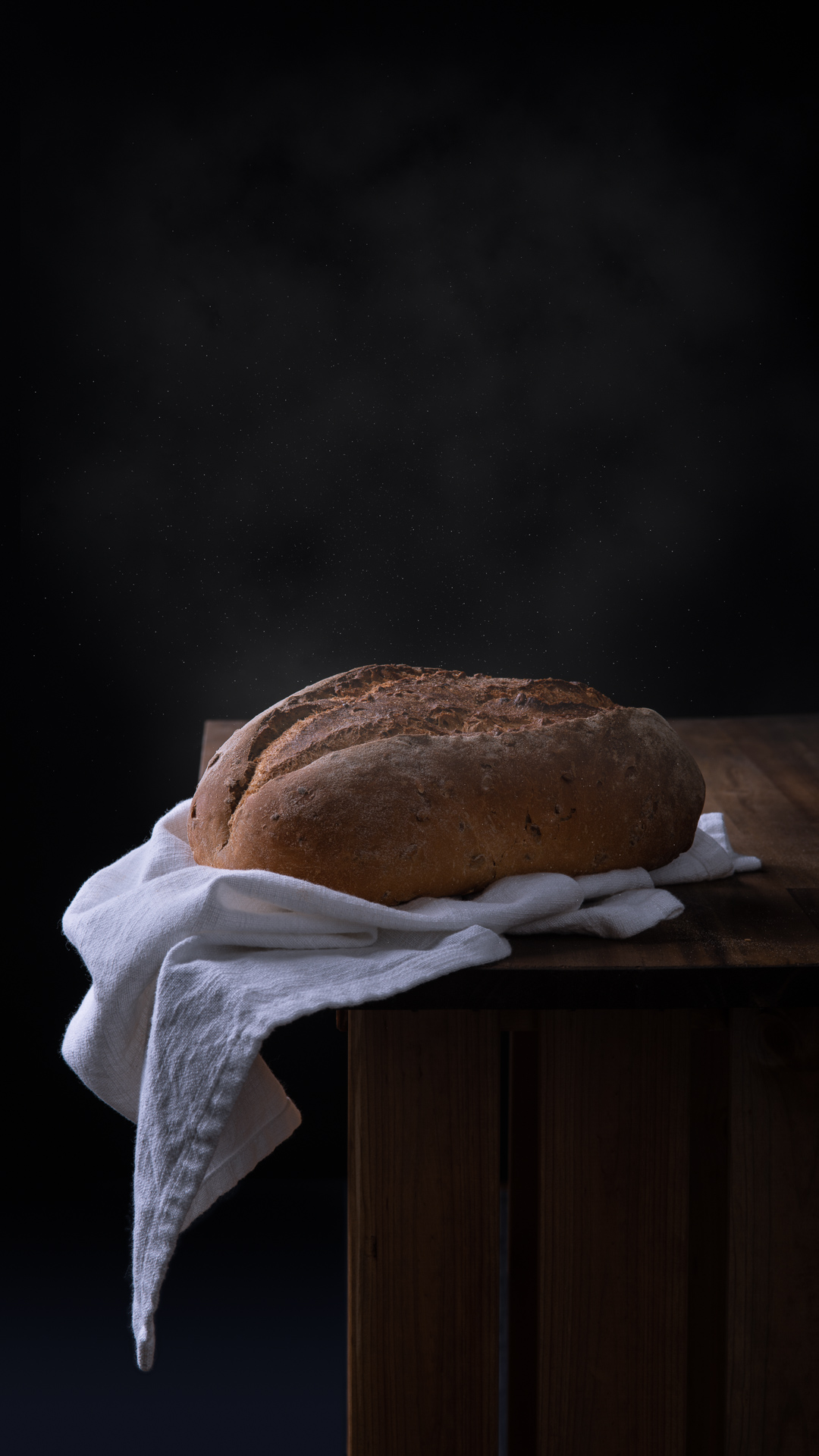 Freshly baked loaf of bread food photography