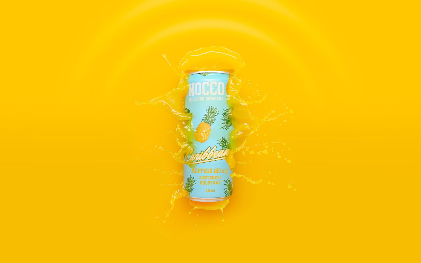 Nocco Energy drink splash - beverage, liquid and product photography