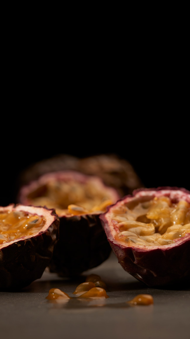 Passion fruit food photography