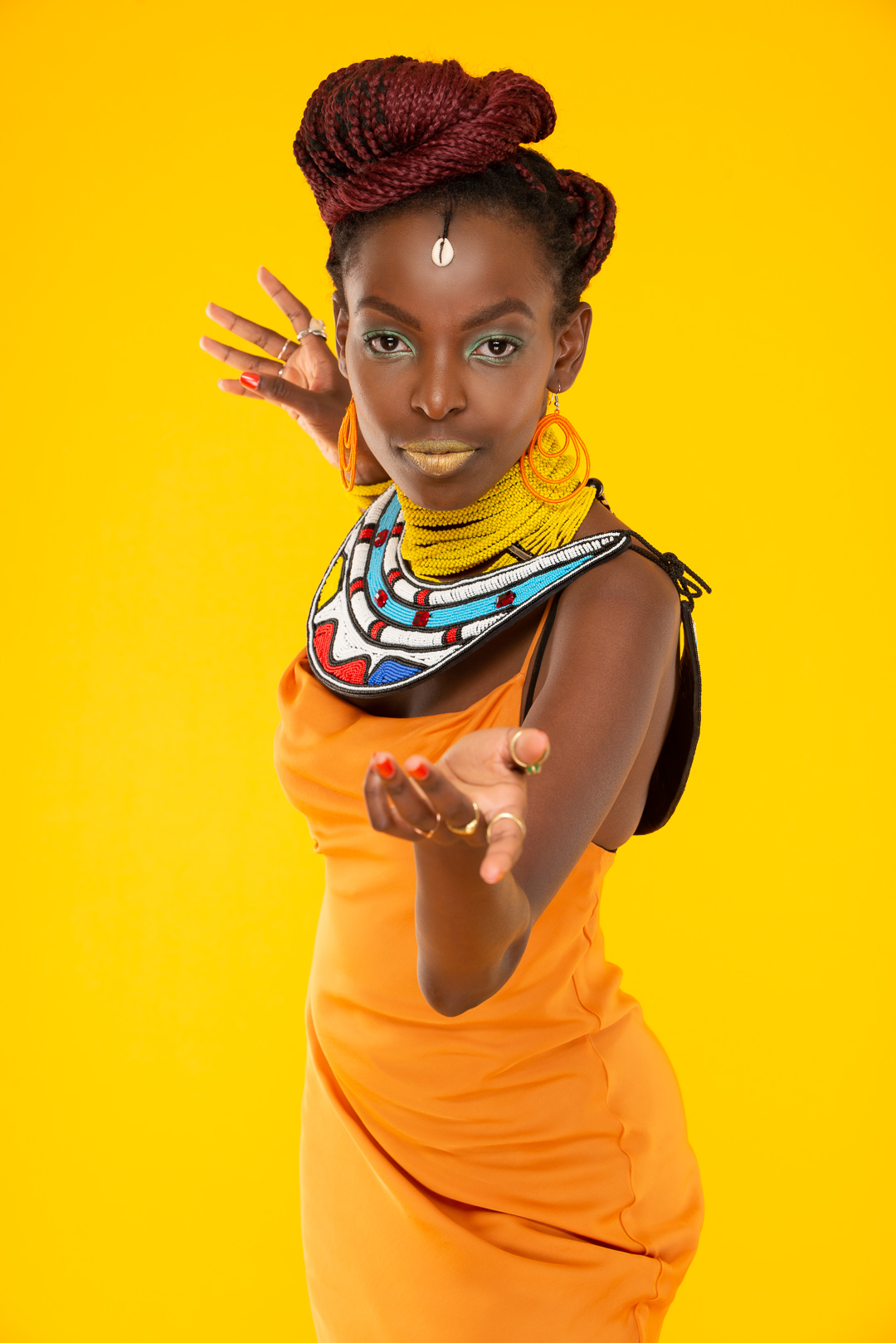Afrofuturistic Fashion – Teta yellow dress – Studio Portrait Photography