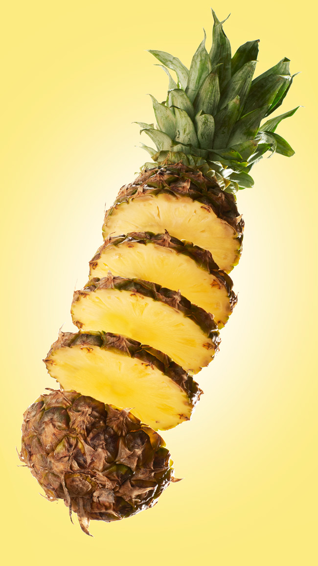 Sliced flying pineapple - food photography