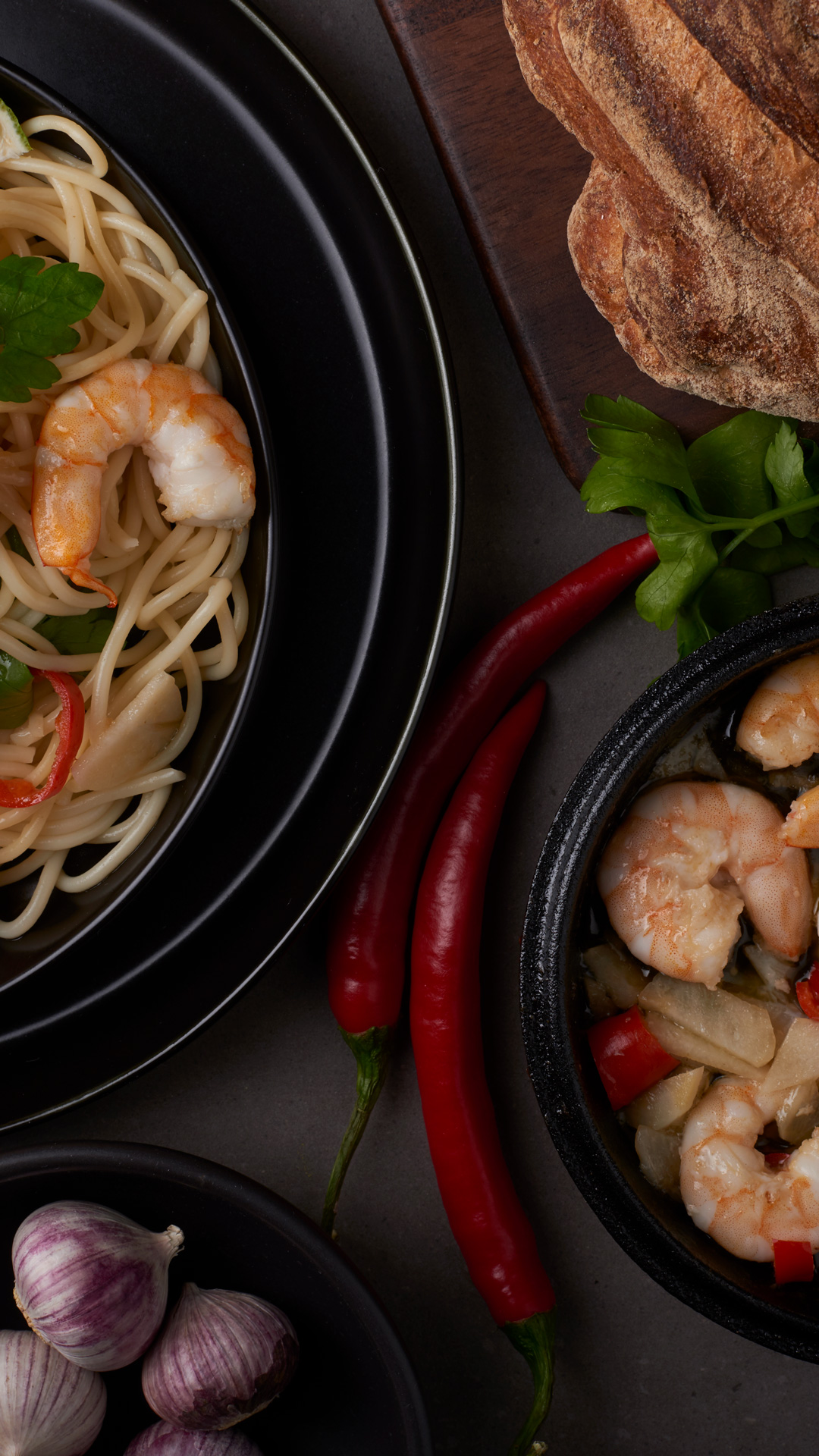 Shrimp pasta - food photography