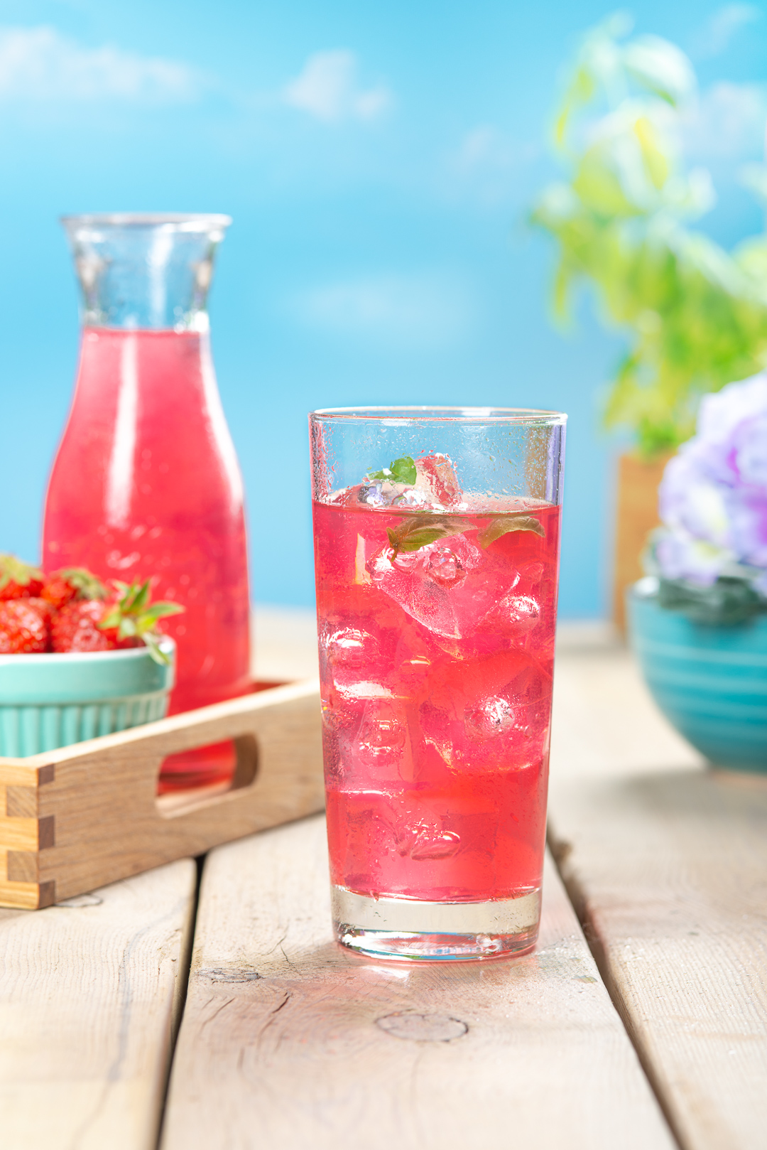 Strawberry ice drink - food and beverage photography