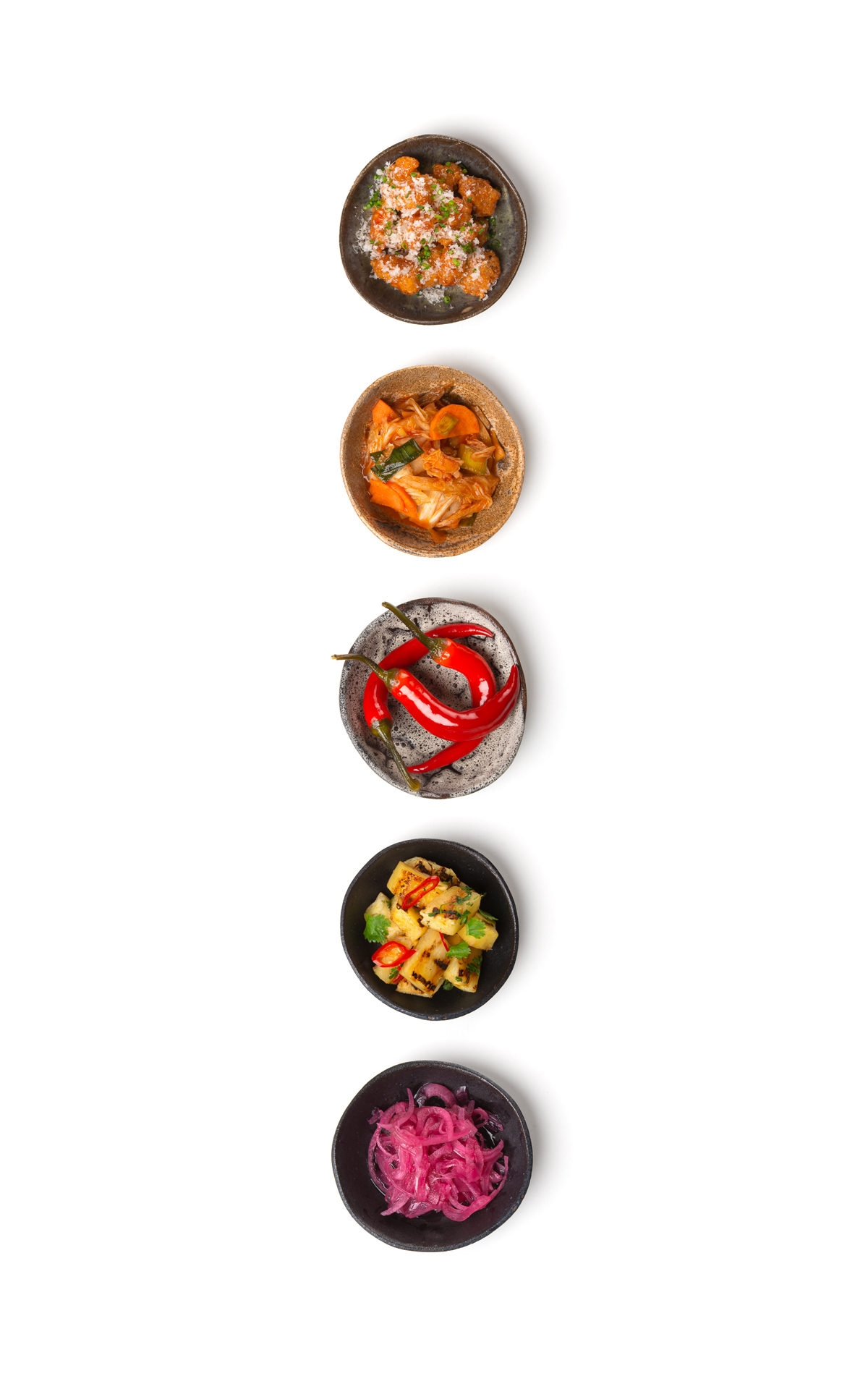 Sidedishes on a row - food & beverage photography