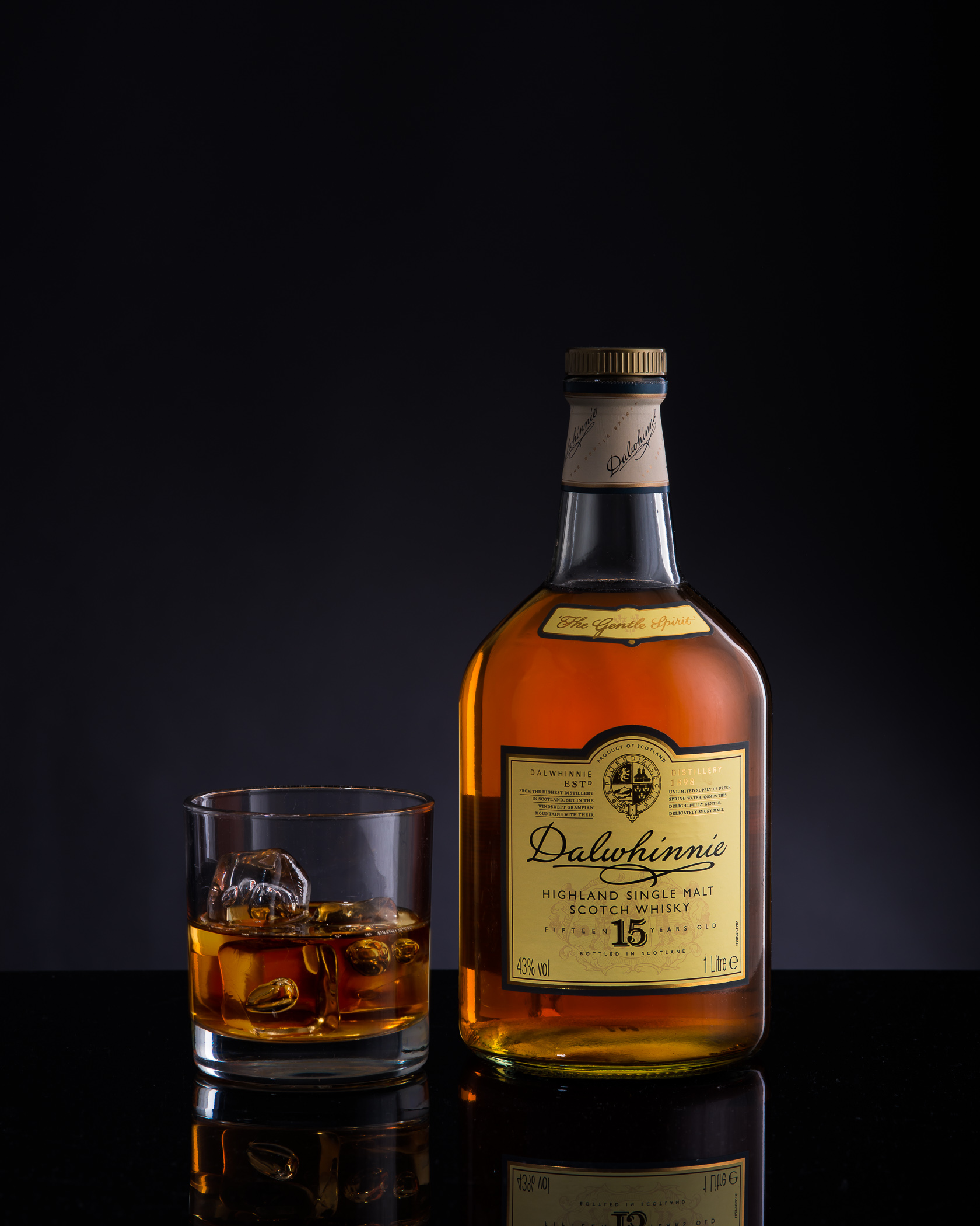 Whisky glass and bottle food and product photography